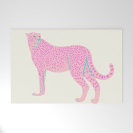 PINK STAR CHEETAH Welcome Mat