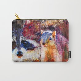 Squirrel And Raccoon Wildlife Art, Modern Nature Art Carry-All Pouch