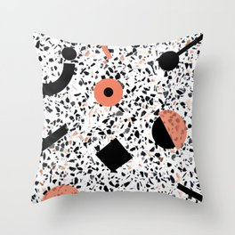 Terrazzo Stone Pattern Memphis Style Orange and Black Throw Pillow
