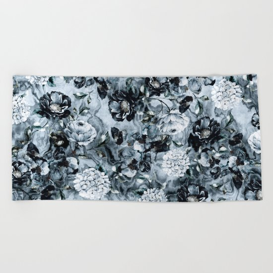 Black Flowers Beach Towel