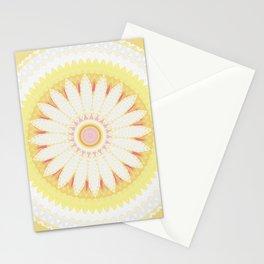 Sunshine Yellow Flower Mandala Abstract Stationery Cards
