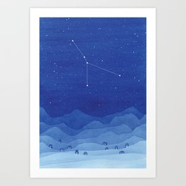 Cancer constellation, mountains Art Print