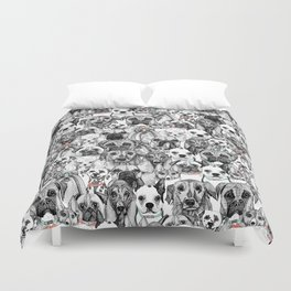 just dogs coral mint Duvet Cover