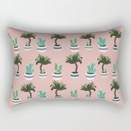 Yucca and cacti in planters pattern Rectangular Pillow
