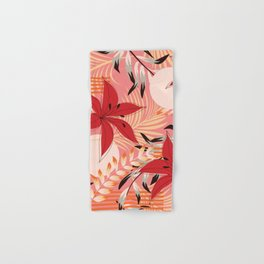 Retro Red Flowers on Coral Hand & Bath Towel