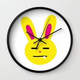 One Tooth Rabbit Emoticons Expressionless Bunny Face Wall Clock