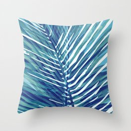 Abstract Palm Leaves | Blue Throw Pillow