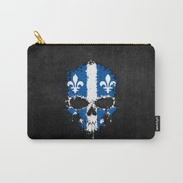 Flag of Quebec on a Chaotic Splatter Skull Carry-All Pouch