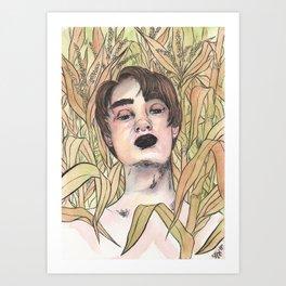 Man in the corn field Art Print
