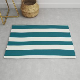 Off White and Tropical Dark Teal Inspired by Sherwin Williams 2020 Trending Color Oceanside SW6496 Hand Drawn Fat Horizontal Line Pattern Rug