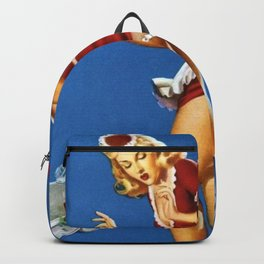 Fresh Lobster! - Satirical Pin Up Girl Waitress Motif Backpack