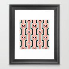 Coral Stripe Mod Framed Art Print