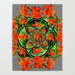 ORANGE DAYLILIES GREEN GARDEN GREY GEOMETRIC Poster