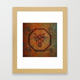 Tribal Dragon Head In Octagon With Dragon Chinese Characters Framed Art Print