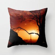 Sunset in Paris Throw Pillow