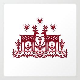 Scandinavian Reindeer Papercut Art Print