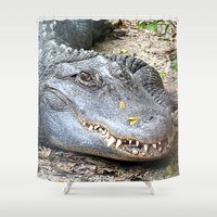 crocodile Shower Curtains featuring Crocodile by Laura Grove