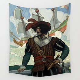 """""""Pirate"""" Book Cover by NC Wyeth Wall Tapestry"""