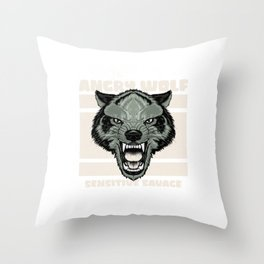 wolf for people who like sensitive savages  Throw Pillow