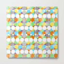 Octagons - Light Yellow Metal Print