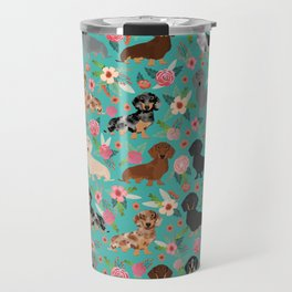 Dachshund florals flower pet portrait dog art dachsie doxie pet art dog breeds Travel Mug