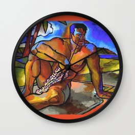 Warrior with Flowers Wall Clock