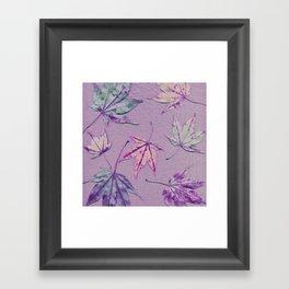 Japanese maple leaves - cerise and pistachio green on light purple Framed Art Print