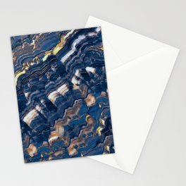 Blue marble with Golden streaks Stationery Cards