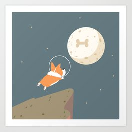 Fly to the moon Art Print