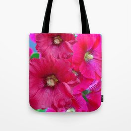 FUCHSIA PINK GARDEN HOLLYHOCKS Tote Bag