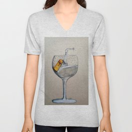 A glass of water with a cork in it Unisex V-Neck