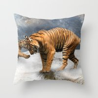 tigers Throw Pillows featuring Tigers by Julie Hoddinott