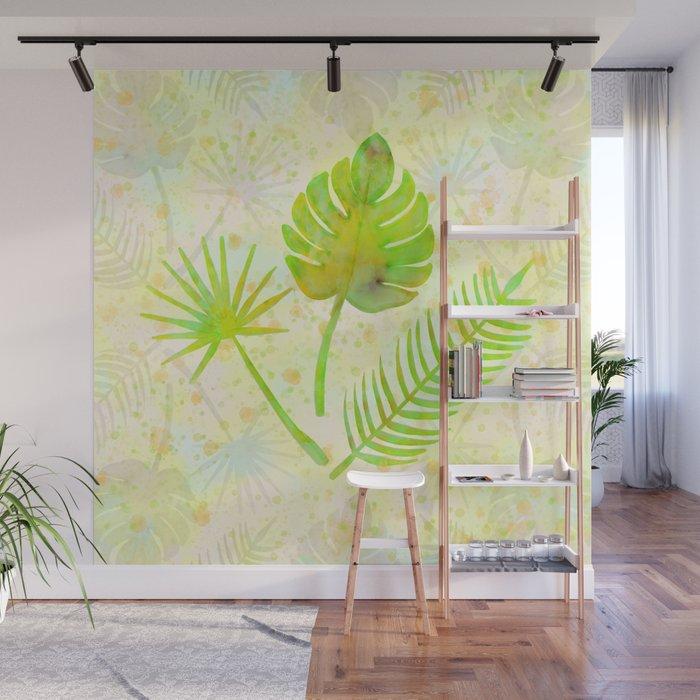 Tropical Leaf Watercolor Painting Green Palm Tree Leaves Wall Mural By Limolida Society6 Exclusive designs by cutting edge stencils. tropical leaf watercolor painting green palm tree leaves wall mural by limolida