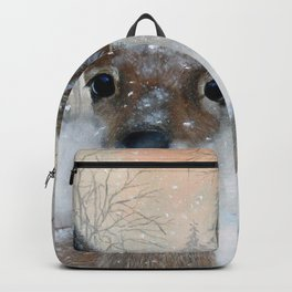 Deer in the Snowy Woods Backpack