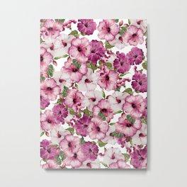 Hibiscus Pattern Metal Print