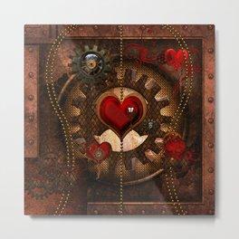 Steampunk, awesome steampunk heart Metal Print