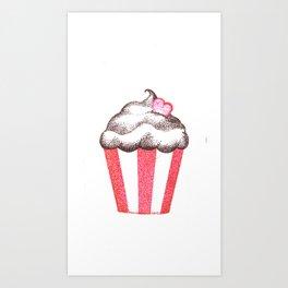 red cupcake (pointillism) Art Print