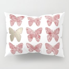 Golden rosy mauve butterflies Pillow Sham