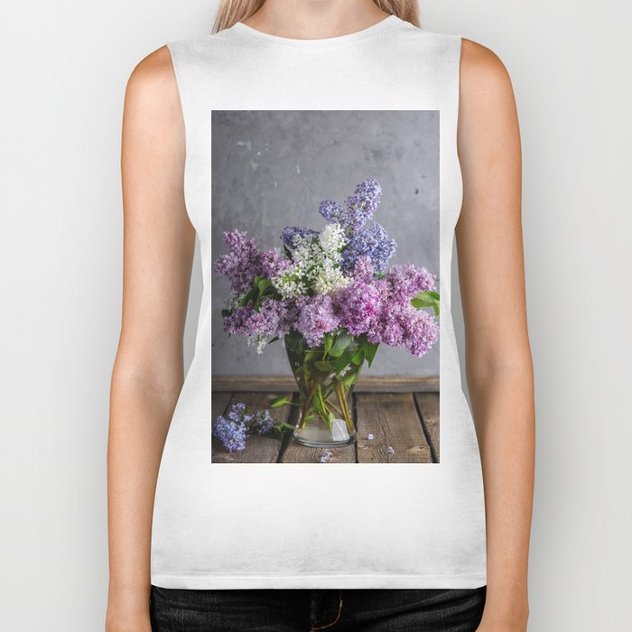 lilac bouquet Biker Tank
