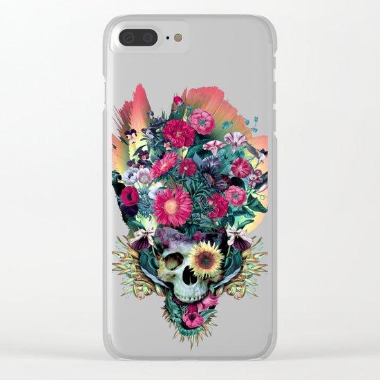Floral Skull Vivid V Clear iPhone Case