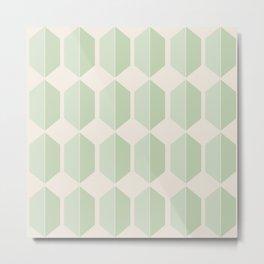 Hexagonal Pattern VI Soft Green Metal Print