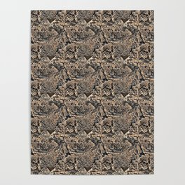 Original Textured bronze and Black Textured Acrylic Abstract Poster