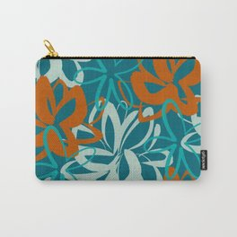 Lotus Garden Painted Floral Pattern in Aqua, Orange, Terracotta Rust, and Teal Carry-All Pouch