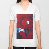 ballon V-neck T-shirts featuring Red ballon by Nathalie Gribinski