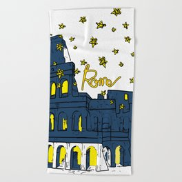 Rome Italy Colosseum Starry night Beach Towel