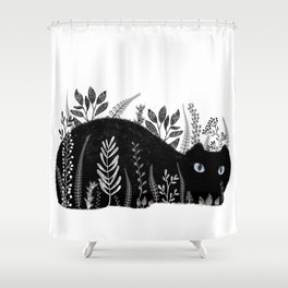 Garden Cat Black And White Shower Curtain