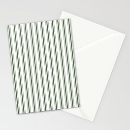 Large Dark Forest Green and White Mattress Ticking Stripes Stationery Cards