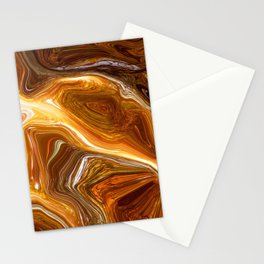 Earth Tones, Digital Fluid Art - Abstract Glowing Light Lines Stationery Cards