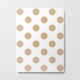 Large Polka Dots - Tan Brown on White Metal Print