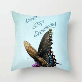 Never Stop Throw Pillow